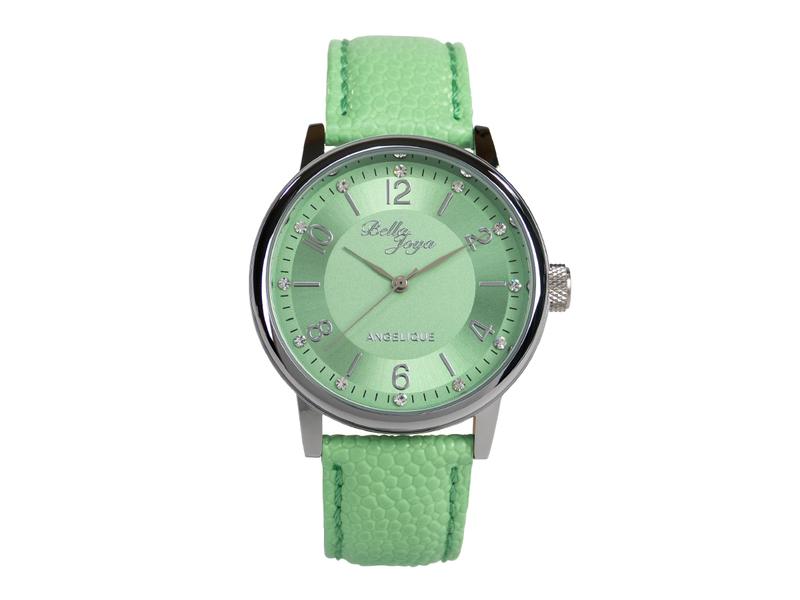 Angelique silber, elegante Mode-Uhr, Echtlederband mint