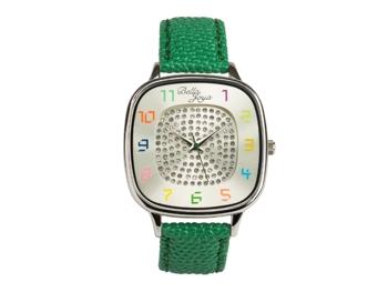 Capri, modische Trend-Uhr, Echtlederband grün