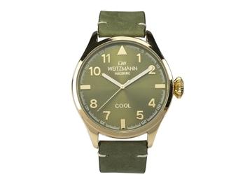Cool, attraktive Trend-Uhr, gold, Echtlederband olive