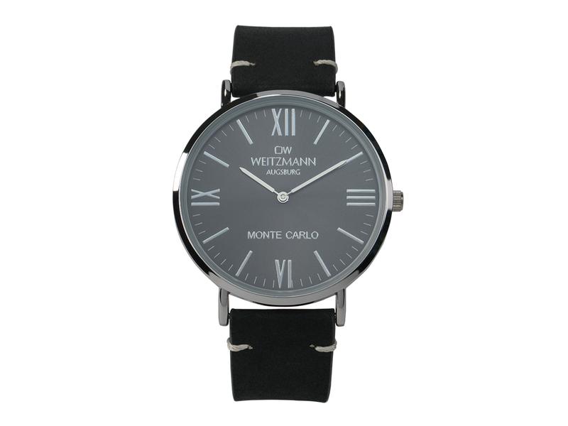 Monte Carlo, topaktuelle Mode-Uhr, mit schwarzem Zifferblatt, mit Echtlederband schwarz