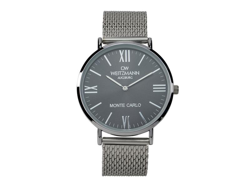 Monte Carlo, topaktuelle Mode-Uhr, mit schwarzem Zifferblatt, mit Milanaise-Band