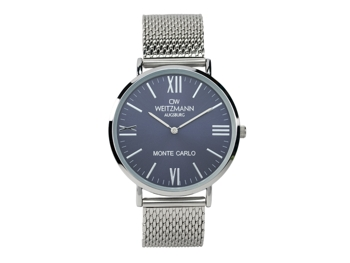 Monte Carlo, topaktuelle Mode-Uhr, mit blauem Zifferblatt, mit Milanaise-Band