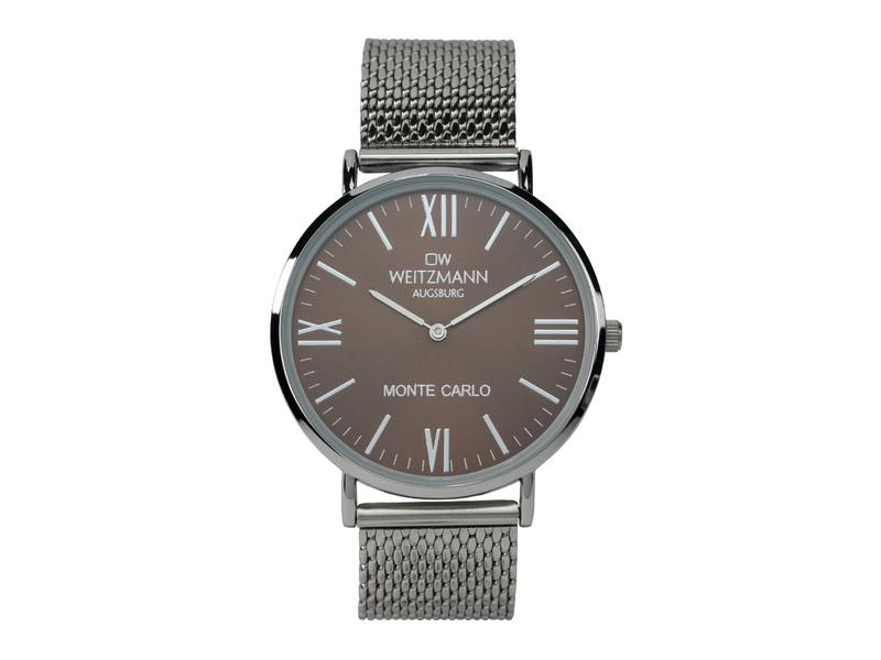 Monte Carlo, topaktuelle Mode-Uhr, mit braunem Zifferblatt, mit Milanaise-Band