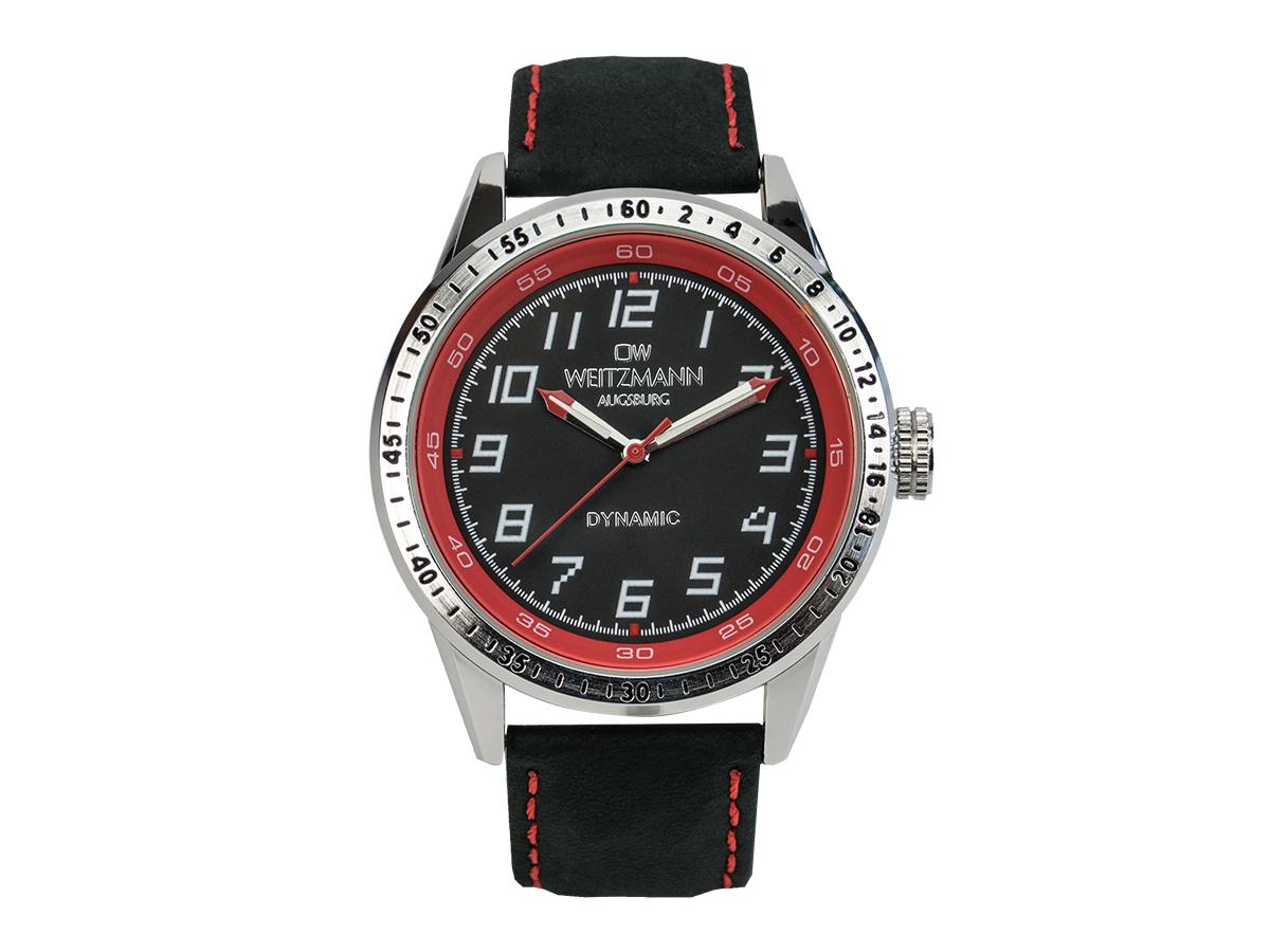 Dynamic, sportlich-elegante Herren-Uhr, schwarz/rot, Echtlederband schwarz