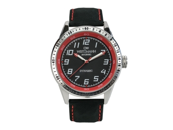 Dynamic black/red, genuine leather strap black