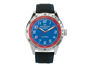 Dynamic blue/red, genuine leather strap black