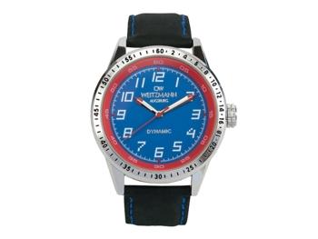 Dynamic, sportlich-elegante Herren-Uhr, blau/rot, Echtlederband schwarz