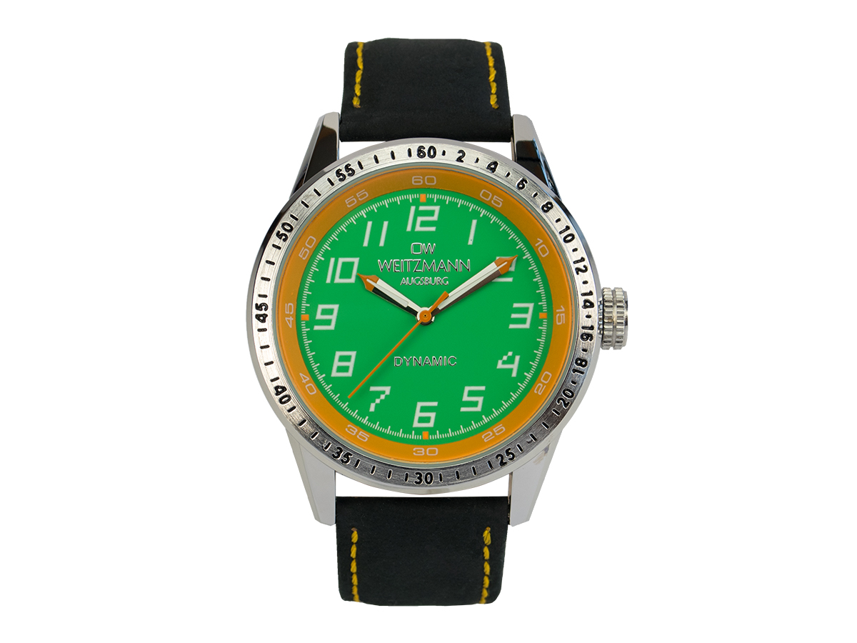 Dynamic green/yellow, genuine leather strap black
