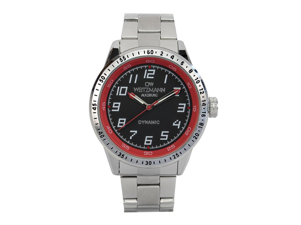 Dynamic black/red, steel bracelet