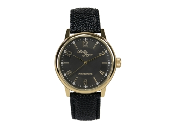 Angelique, gold, black leather strap