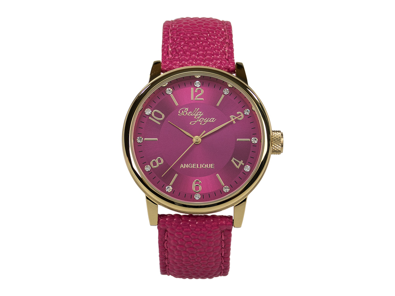 Angelique gold, elegante Mode- Uhr, Echtlederband magenta