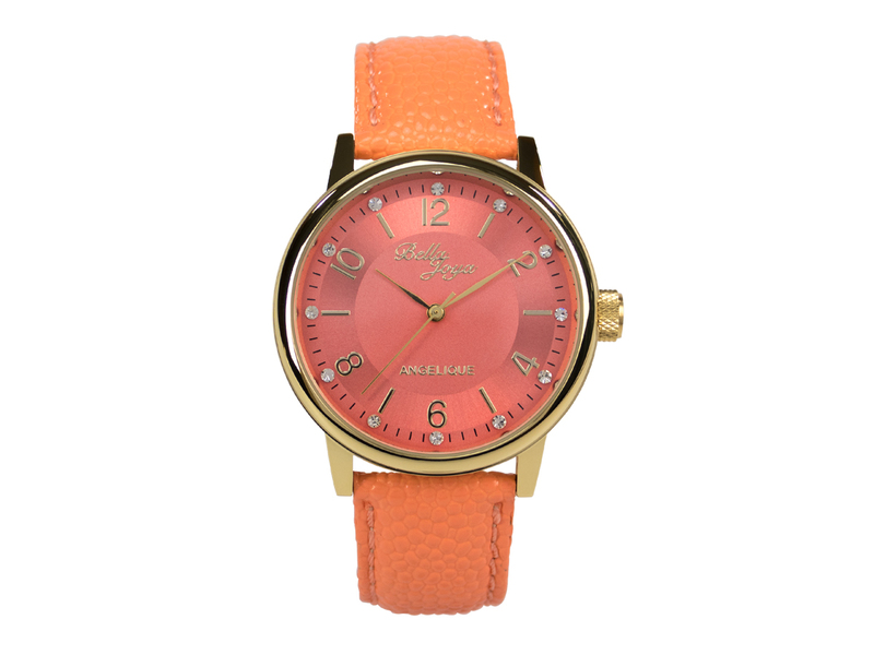 Angelique gold, elegante Mode- Uhr, Echtlederband apricot
