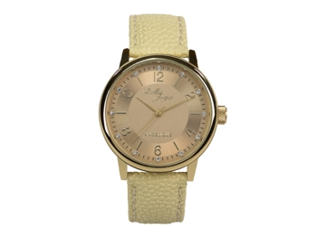 Angelique, gold, beige leather strap