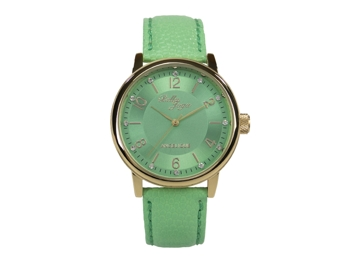 Angelique, gold, mint leather strap