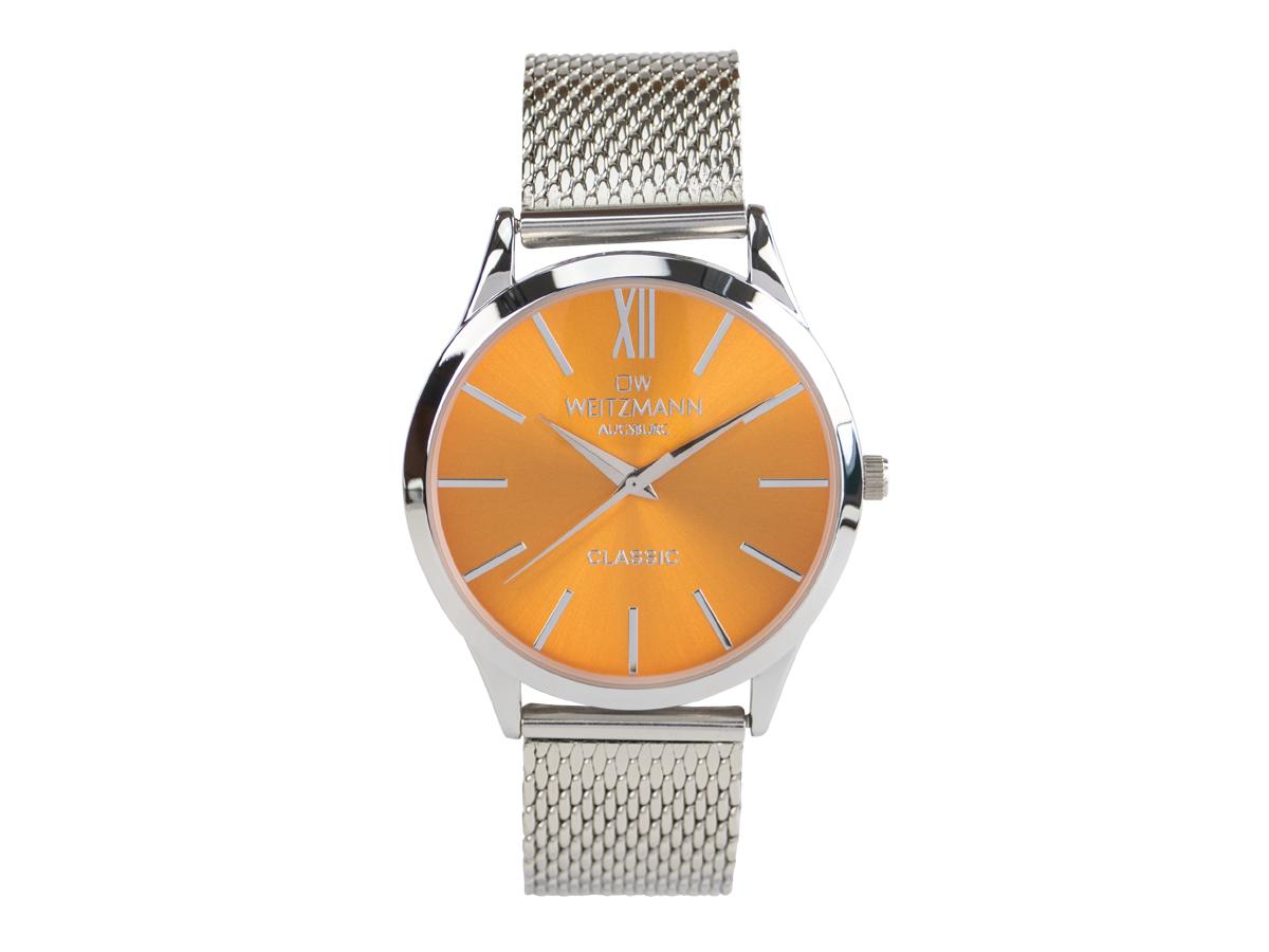 Classic, klassische Herren-Uhr, mit orangem Zifferblatt, Milanaiseband