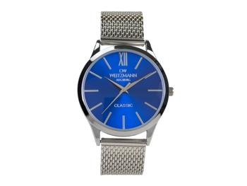 Classic, klassische Herren-Uhr, mit blauem Zifferblatt, Milanaiseband