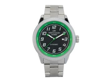 Dynamic, sportlich-elegante Herren-Uhr, schwarz/grün, geriffelte Lünette, Stahlband