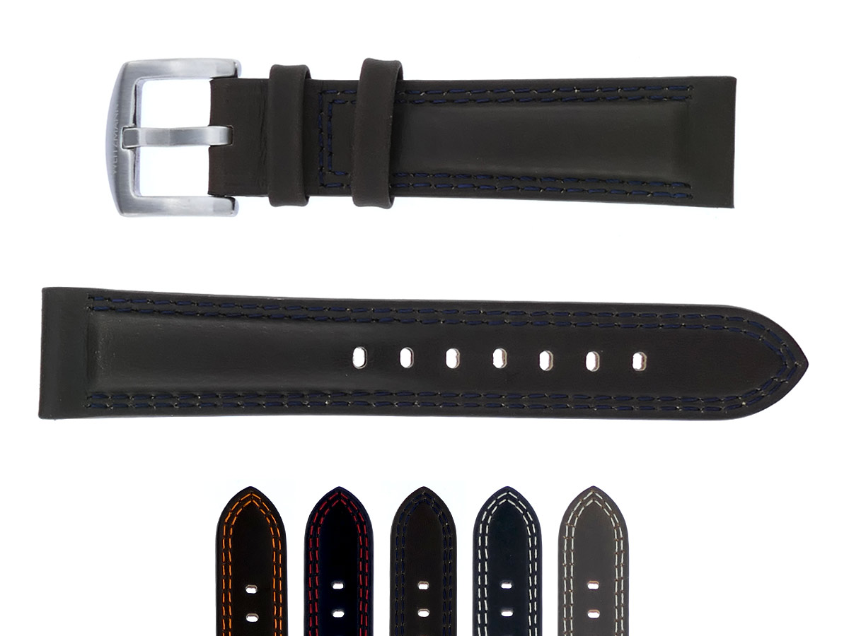 genuine vintage leather strap in brown with dark blue double stitching, smooth surface