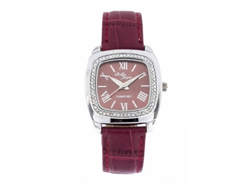 Sanremo silver/purple, genuine leather strap with a crocodile skin effect