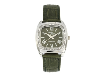 Sanremo silver/green, genuine leather strap with a crocodile skin effect