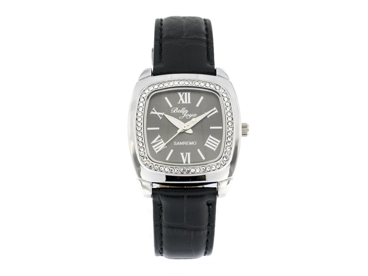 Sanremo silver/black, genuine leather strap with a crocodile skin effect