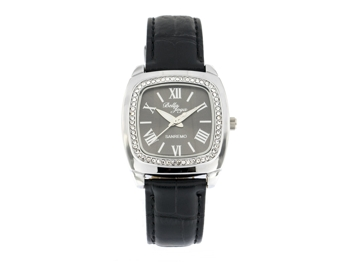 Sanremo silver/black, genuine leather strap with a crocodile skin effect