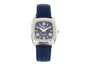 Sanremo silver/dark blue, genuine leather strap with a crocodile skin effect