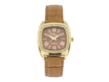 Sanremo gold/light brown, genuine leather strap with a crocodile skin effect
