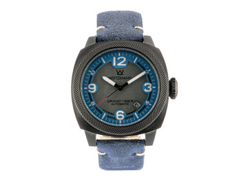 Grandtimer, anthracite coloured case, genuine vintage leather strap roughened surface in blue