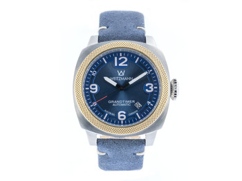 Grandtimer, bicolour, genuine vintage leather strap roughened surface in blue