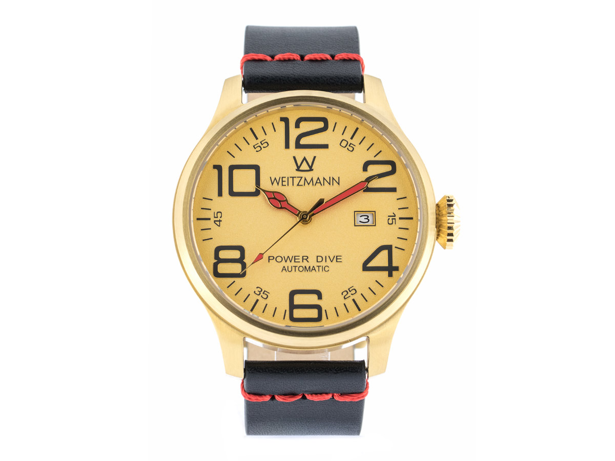 Power Dive, gold/gold, Echtlederband glatt in schwarz mit roter Naht
