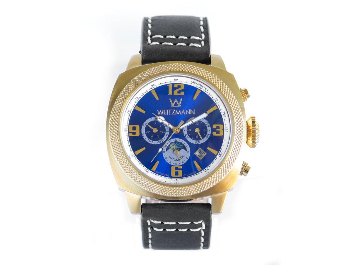 Multitimer, gold/blau, Echtlederband in schwarz mit Doppelnaht