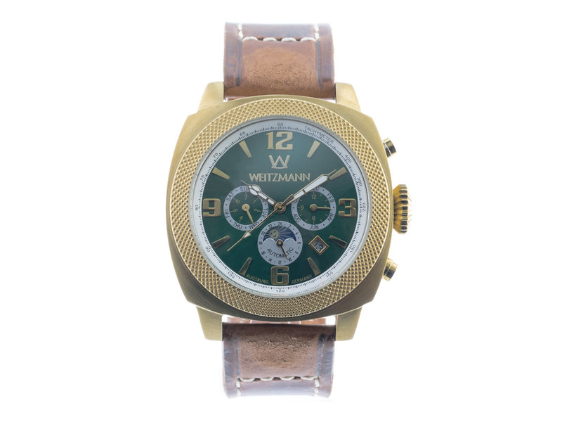 Multitimer, gold/grün, Echtlederband in braun m...