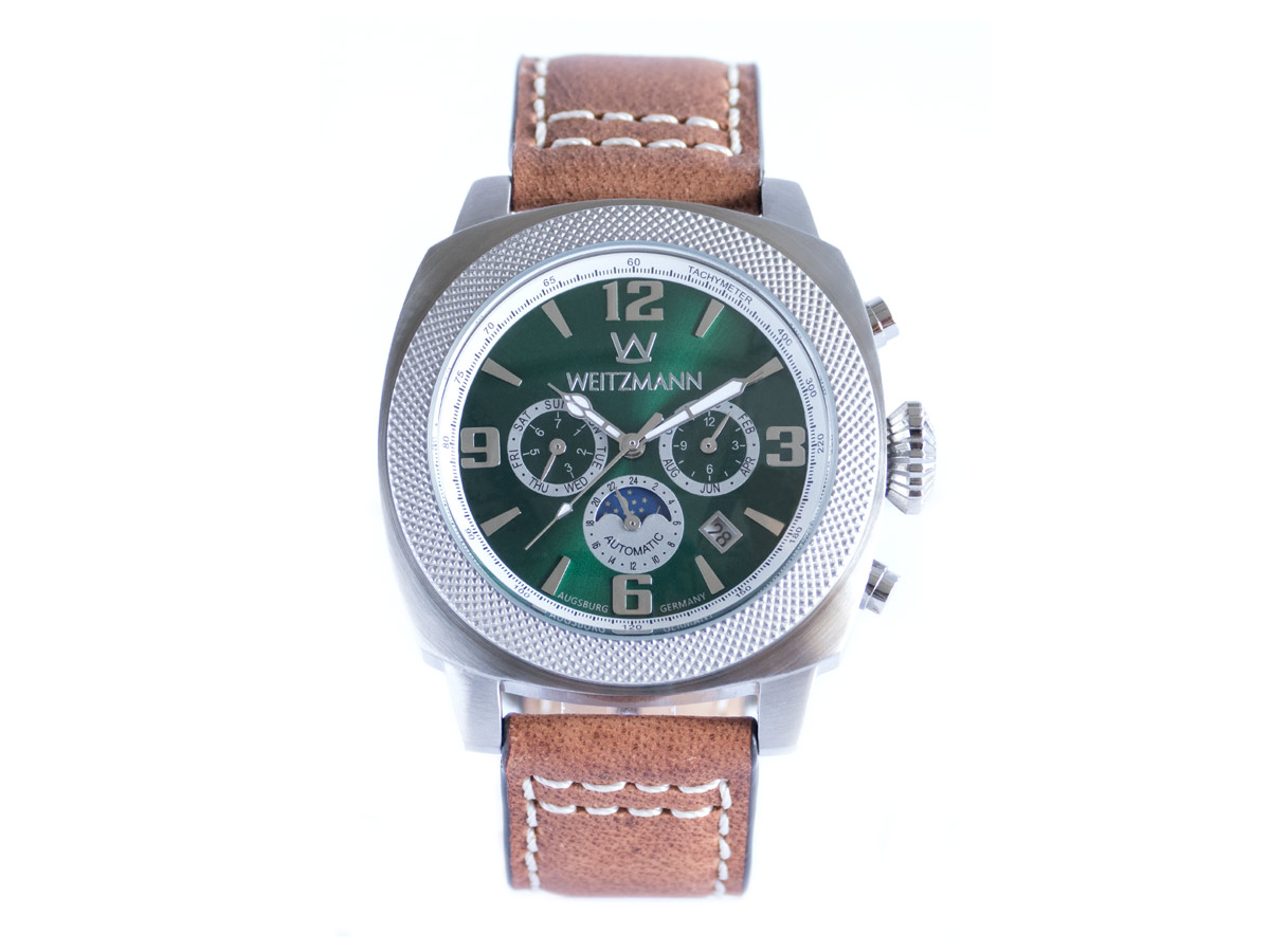 Multitimer, silver/green, genuine vintage leather strap in light brown