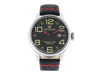 Power Dive, silver/anthracite, genuine vintage leather strap roughened surface in black