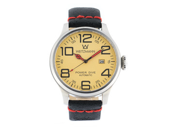 Power Dive, silver/gold, genuine vintage leather strap roughened surface in black