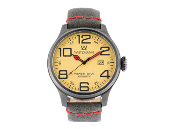 Power Dive, anthracite/gold, genuine vintage leather strap roughened surface in grey