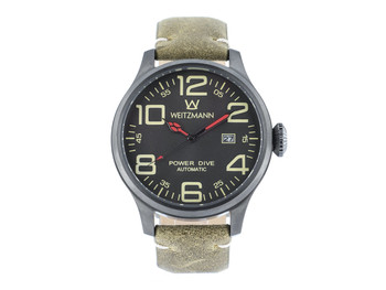 Power Dive, anthracite/anthracite, genuine vintage leather strap roughened surface in olive