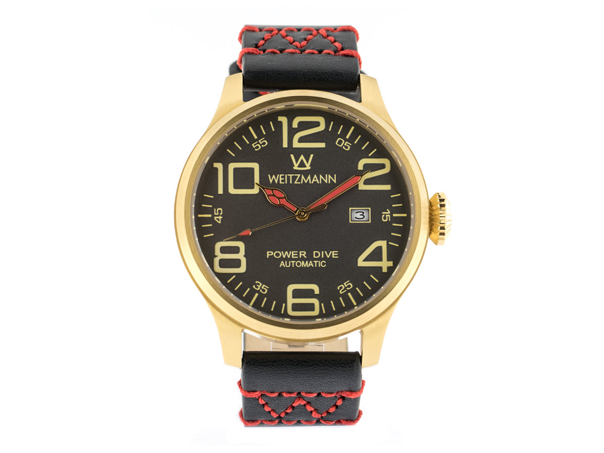 Power Dive, gold/anthrazit, Echtlederband in schwarz mit roter W-Naht