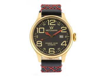 Power Dive, gold/anthracite, genuine vintage leather strap in black
