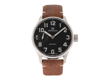 Lechfeld, silver/black, genuine vintage leather strap in rusty