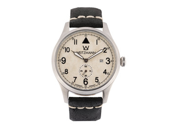 Jäger 109, silver/white, genuine vintage leather strap in black