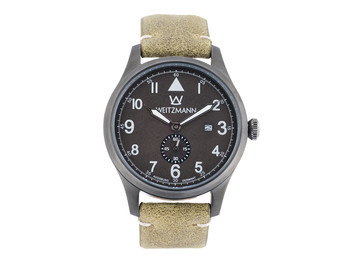 Jäger 109, anthracite/black, genuine vintage leather strap in olive