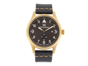 Jäger 109, gold/black, genuine vintage leather strap in black