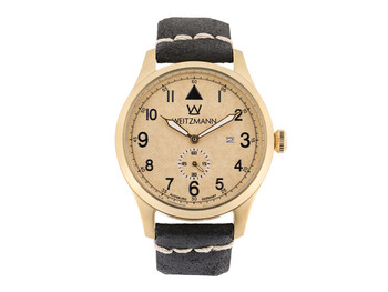 Jäger 109, gold/beige, genuine vintage leather strap in black