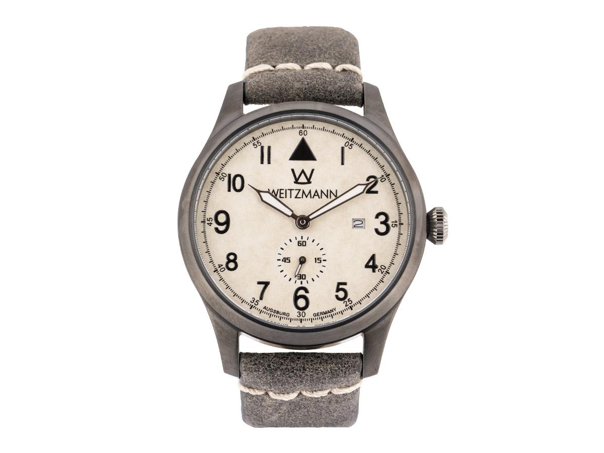 Jäger 109, anthrazit/weiß, Echtlederband in grau