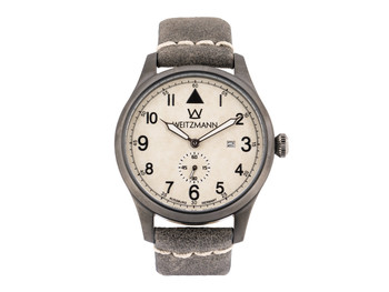 Jäger 109, anthracite/white, genuine vintage leather strap in grey
