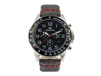 Carbon Sport 2, red hand, genuine leather strap