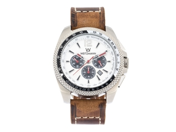 Race One white, genuine leather strap