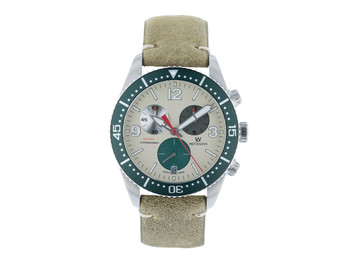 Laptimer 10 green, leather strap